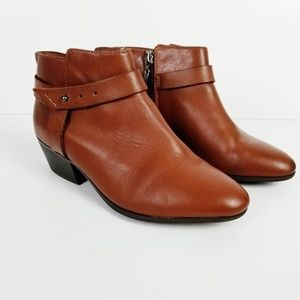 CLARKS Collection Brown Leather Ankle Booties